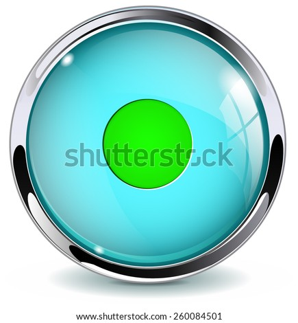 Glass button  -  Control. Round web media icon with metallic frame. Vector Illustration isolated on white background. - stock vector