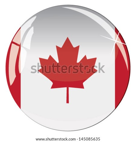 Glass button with national flag of Canada - stock vector