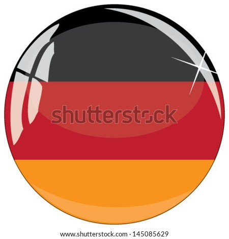 Glass button with national flag of Germany - stock vector