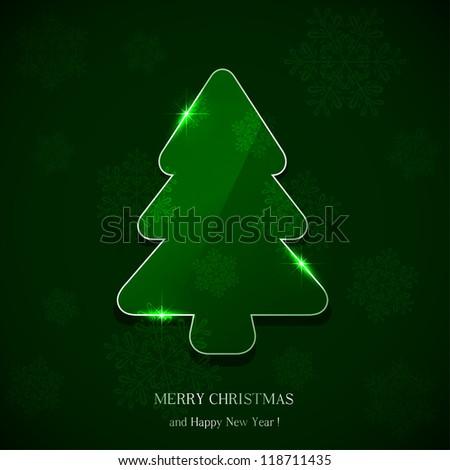 Glass Christmas tree on green background, illustration. - stock vector