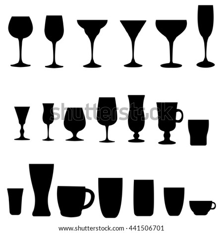 Glass collection. Cocktail glass silhouette. Vector set of monochrome glass.