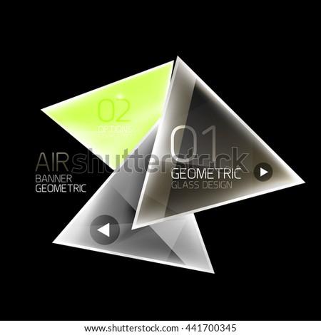 Glass color triangles infographics. Futuristic business design - stock vector