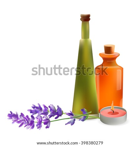 Glass Cosmetic Bottles and Candle with Lavender Branch. Vector Isolated  Illustration. Template Elements for Cosmetic Shop, Spa Salon, Beauty Products Package, Medical Care Treatment.
