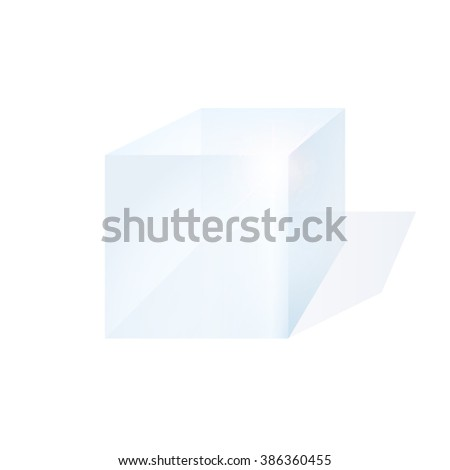 Glass cube on a white background with shadow