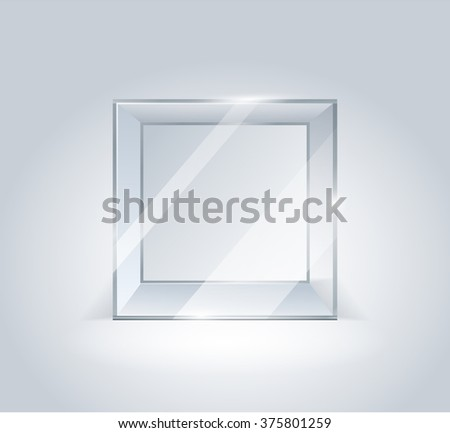 Glass cube. Transparent boxes. Showcase for the project presentation. Glass. Cube isolated on white background. Transparent cube. Vector 3d illustration. - stock vector