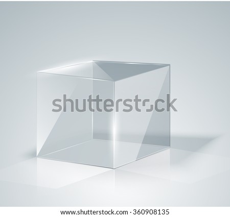Glass Cube. Transparent Cube. Isolated. Template glass. Exhibition. Presentation of a new product. Realistic 3D design. Vector illustration - stock vector