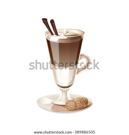 Glass cup of coffee latte isolated on white background. Transparent cup of coffee, milk and chocolate. Drink coffee latte in a tall glass. Isolated icon latte. Vector illustration. - stock vector