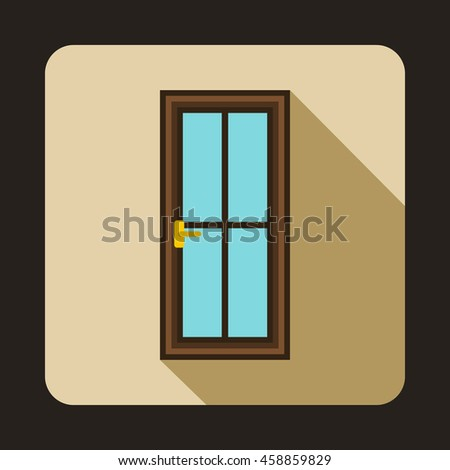 Glass door icon in flat style on a beige background