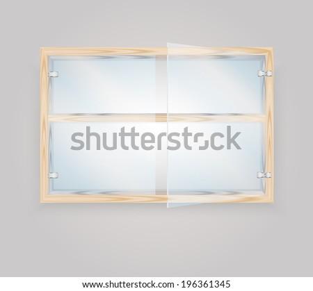 Glass door wood storage cabinet, vector illustration - stock vector