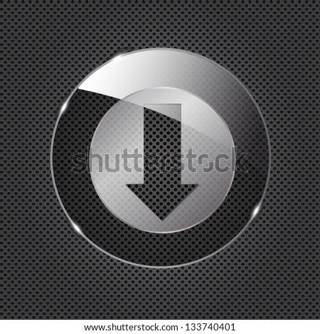 Glass download button icon on metal background. Vector illustration - stock vector