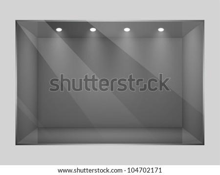 Glass empty  show window of shop. Vector illustration. - stock vector