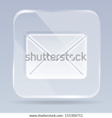 glass envelope icon - stock vector