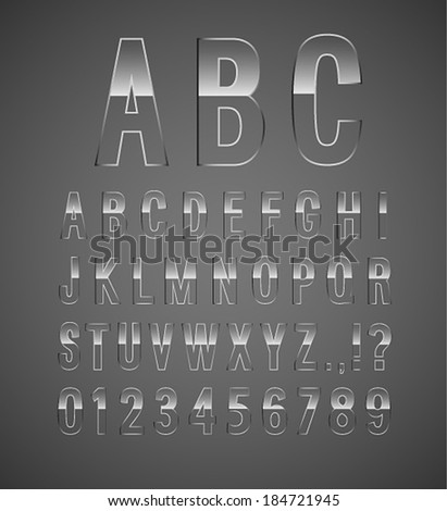 Glass font. Vector illustration. - stock vector