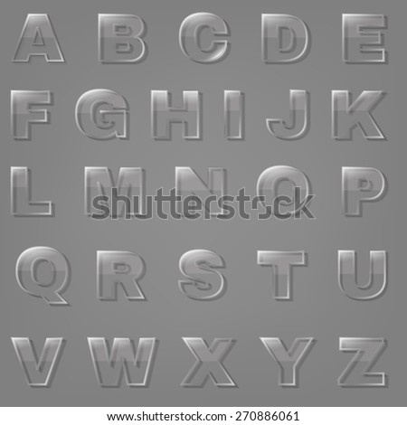 Glass Font, Vector Illustration - stock vector