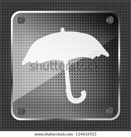 Glass forecast icon on a metallic background - stock vector
