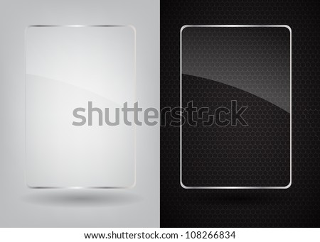 Glass frame on abstract metal background. Vector illustration.