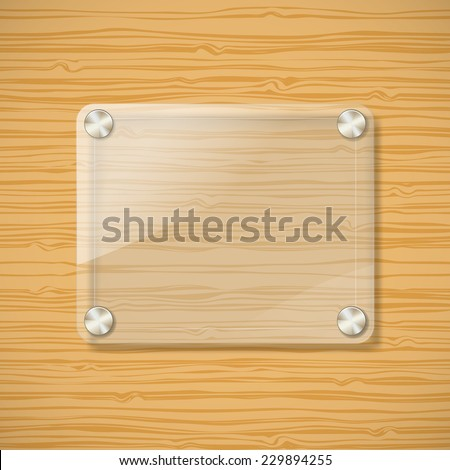 glass frame on wooden background 2 - stock vector