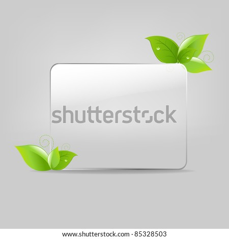 Glass Frame With Leafs, Vector Illustration