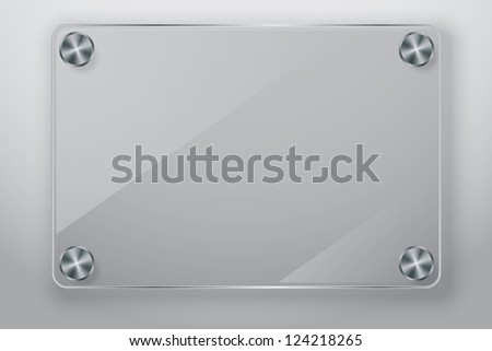 Glass frame with screws, vector illustration - stock vector