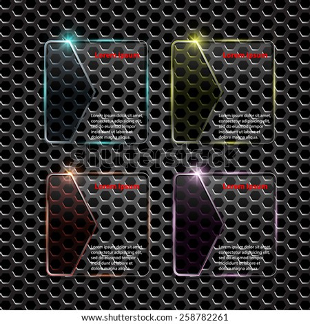Glass framework on metal background,Numbered banners. Vector design template. - stock vector