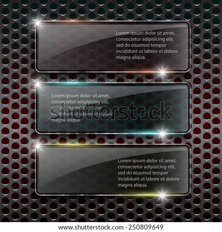 Glass framework on metal background, Vector design template. - stock vector