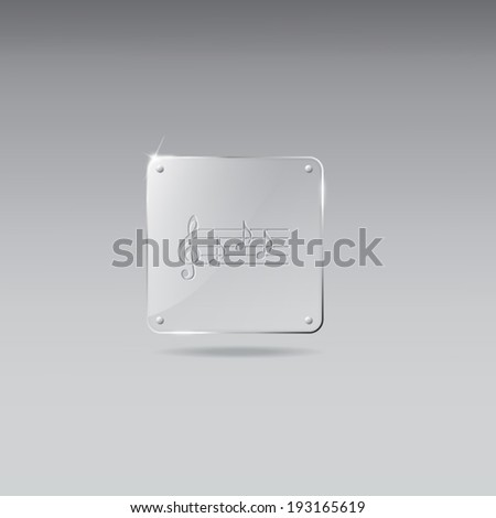 Glass framework with musical note icon - stock vector