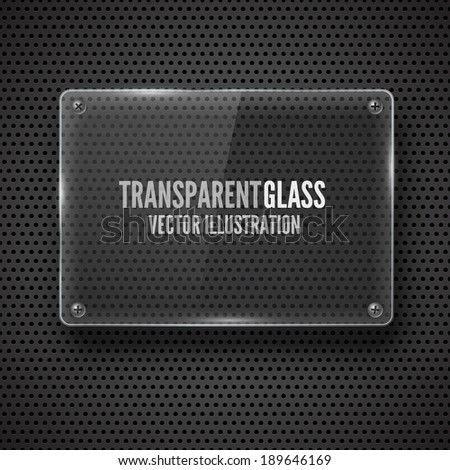 Glass  framework with screw on  metal background. Vector illustration. - stock vector