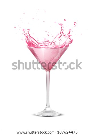 Glass glass on a white background. Sparks of cocktail. Isolated objects. Vector.