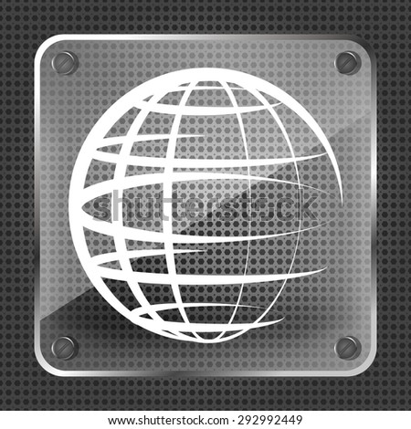 Glass globe planet icon on a metallic background - stock vector