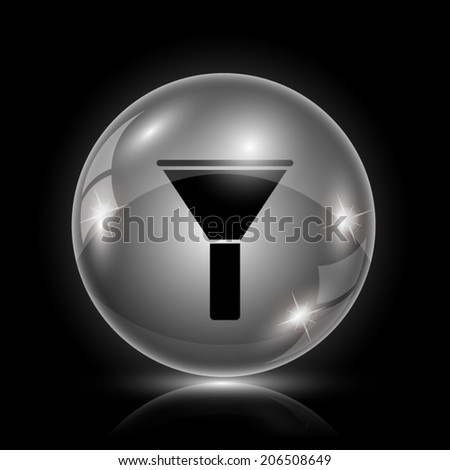 Glass glossy icon on black background. EPS10 vector. - stock vector