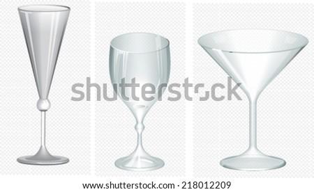 Glass goblets.Wine glasses - stock vector