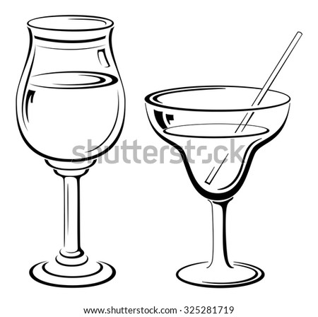 Glass Goblets with Drinks and Straw, Black Contour Pictograms Isolated on White Background. Vector - stock vector