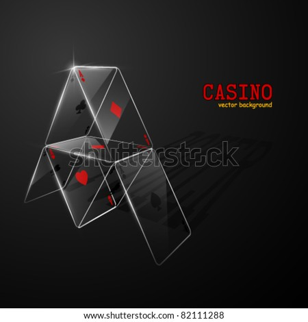 Glass house of cards. Vector illustration. - stock vector