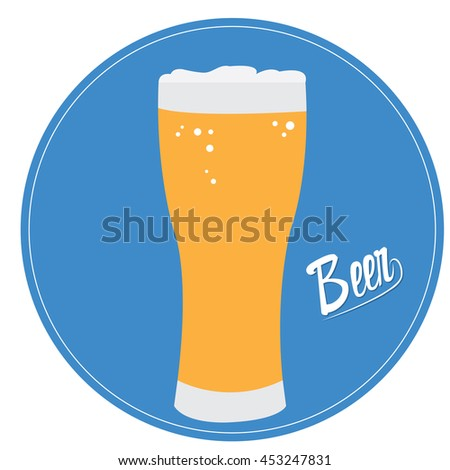 Glass, Isolated beer, Vector illustration