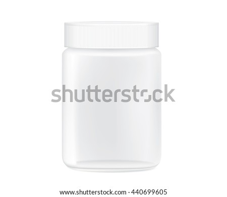 Glass jar empty transparent isolated on white background for packaging design template of any product.