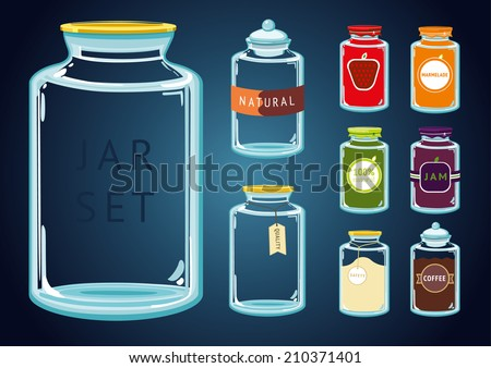 Glass Jar Set. Set of empty and full glass jars with different content and labels. Without using a transparency effect. Just put something in a jar. - stock vector