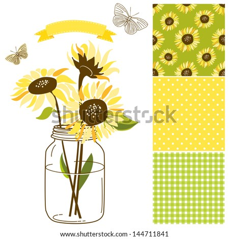 Glass Jar, sunflowers, ribbon, butterflies and cute rustic seamless backgrounds. Ideal for wedding invitations and Save the Date invitations - stock vector