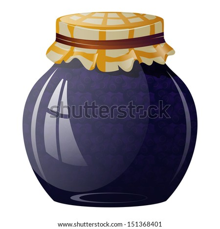 Glass jar with blueberry jam - stock vector