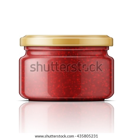 Glass jar with raspberry jam. Vector illustration. Packaging collection.