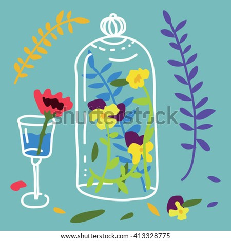 Glass jars and flowers vector.