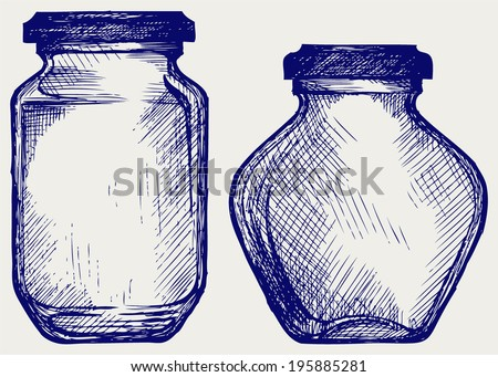 Glass jars. Doodle style - stock vector