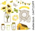 Glass Jars, sunflowers, ribbons, bunting, butterflies and cute rustic barn. Ideal for wedding invitations and Save the Date invitations - stock