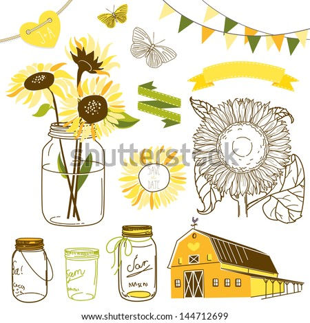 Glass Jars, sunflowers, ribbons, bunting, butterflies and cute rustic barn. Ideal for wedding invitations and Save the Date invitations - stock vector