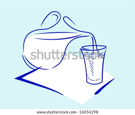 Glass jug with milk and a glass - stock vector