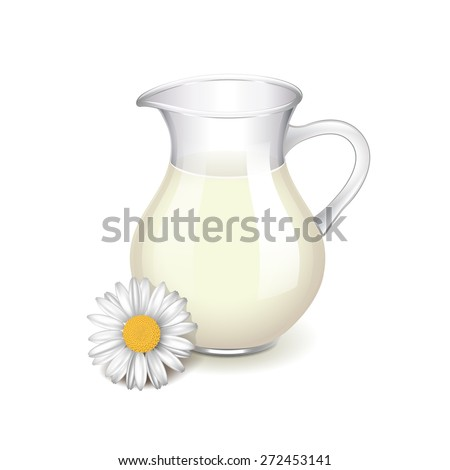 Glass jug with milk, chamomile flower isolated photo-realistic vector illustration - stock vector