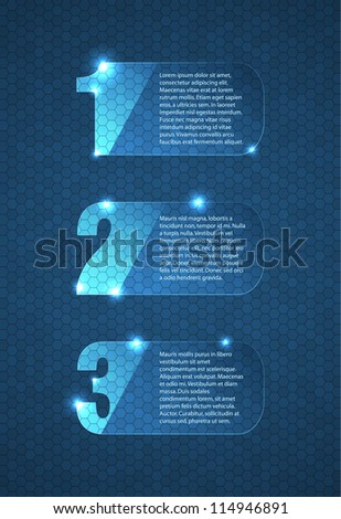 Glass labels with numbers containing placeholders for your text. EPS10 vector background for step by step concept. - stock vector