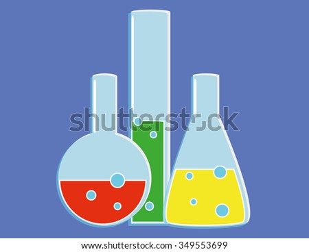 Glass laboratory flasks and receptacles with various colored liquids bubbling away in primary colors on a blue background