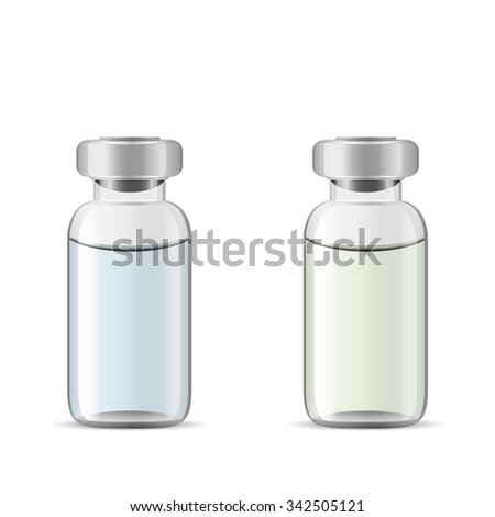 Glass medical vials with drug solution, 3d realistic vector of medical lab tools, eye drops container, eps 10 - stock vector