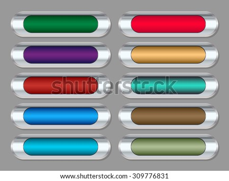 Glass metal buttons vector pack