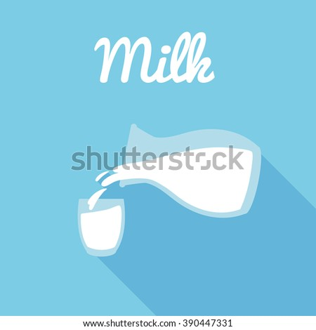 Glass milk and Pitcher, pour milk, Glass icon - stock vector